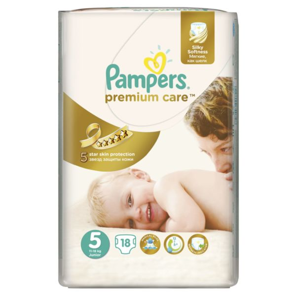 Pampers Еднократни пелени памперси Premium Care Small Pack Junior р-р 5 /11-18кг/ 18 бр. 0202446